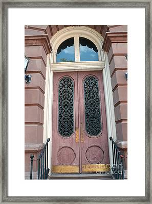 Charleston French Quarter Pink Ornate Door Architecture - Charleston French Quarter Ornate Door Framed Print by Kathy Fornal