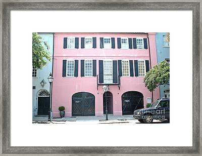 Charleston French Quarter Rainbow Row French Black And Pink Window Shutters Architecture Framed Print by Kathy Fornal