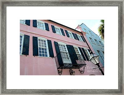 Charleston French Quarter Rainbow Row French Lace Iron Balconies Black And Pink Window Shutters  Framed Print by Kathy Fornal