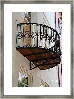 Charleston French Quarter Rainbow Row French Lace Iron Balconies Framed Print by Kathy Fornal