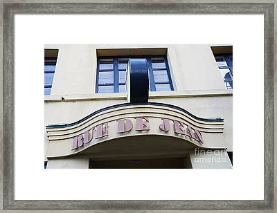 Charleston French Restaurant - Rue De Jean French Cafe Bistro Sign Architecture Framed Print by Kathy Fornal