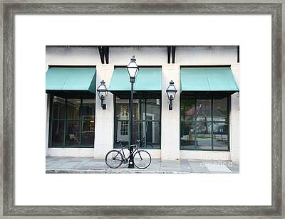 Charleston Historical District Architecture Buildings And Bicycle Street Scene Framed Print by Kathy Fornal
