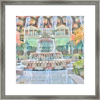 Charleston Pineapple Framed Print by Cathy Lindsey