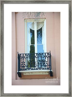 Charleston Pink White Architecture - Charleston Historical District French Quarter Window Balcony Framed Print by Kathy Fornal