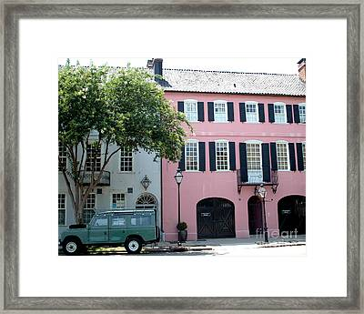 Charleston Rainbow Row Historical District Pink Black Architecture Street Scene  Framed Print by Kathy Fornal