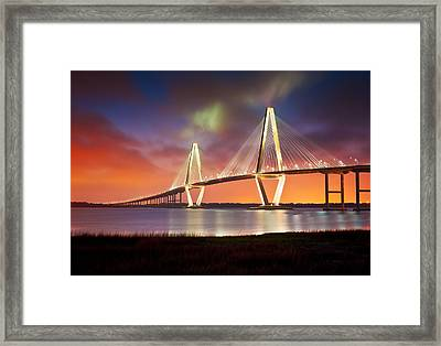 Charleston Sc - Arthur Ravenel Jr. Bridge Cooper River Framed Print by Dave Allen