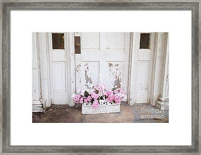 Charleston Shabby Chic Vintage Cottage Old Door With Basket Of Flowers Framed Print by Kathy Fornal
