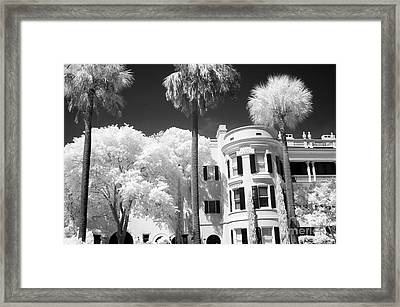 Charleston South Carolina Black White Battery Park Framed Print by Kathy Fornal
