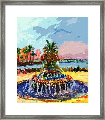 Charleston South Carolina Pineapple Fountain Painting Framed Print by Ginette Callaway