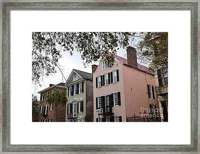 Charleston South Carolina Rainbow Row Historic Homes District Framed Print by Kathy Fornal