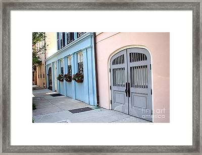 Charleston South Carolina - Rainbow Row - Historical District Architecture Framed Print by Kathy Fornal