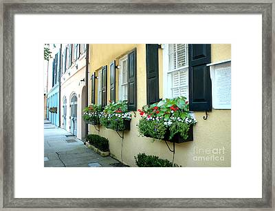 Charleston South Carolina - Rainbow Row Yellow Black Shutters Flower Window Boxes - French Quarter  Framed Print by Kathy Fornal