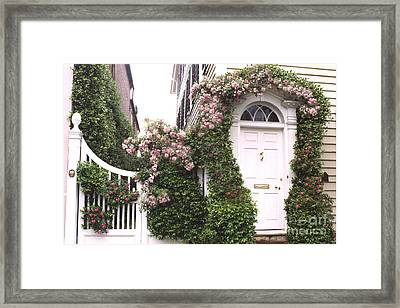 Charleston South Carolina Roses Arbor And Door Framed Print by Kathy Fornal