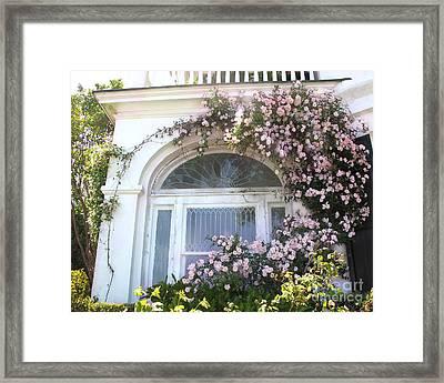 Charleston South Carolina Window Climbing Roses Framed Print by Kathy Fornal