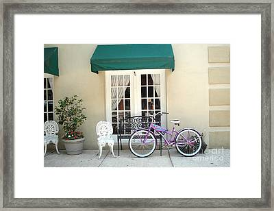 Charleston Windows And Bicycle Street Scene - Charleston French Quarter Architecture And Bicycle Framed Print by Kathy Fornal