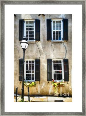 Charleston Windows And Lamp Post  Framed Print by George Oze