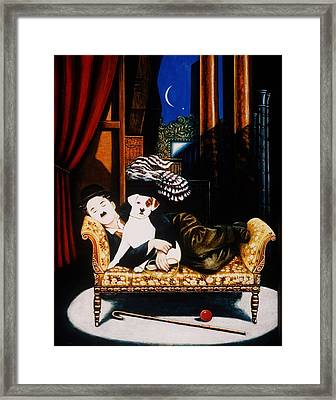 Charlie Chaplin And Scraps, 1992 Oils And Tempera On Panel Framed Print by Frances Broomfield