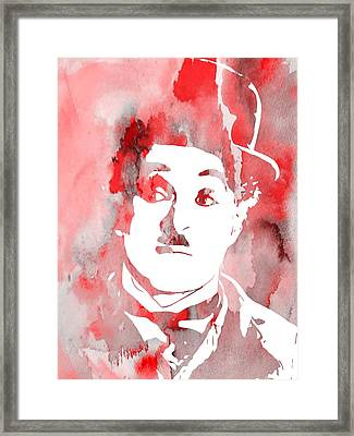 Charlie Chaplin Red Framed Print by Dan Sproul