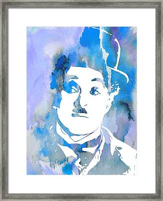 Charlie Chaplin Watercolor Blue Framed Print by Dan Sproul
