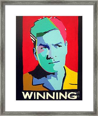 Charlie Sheen Winning Framed Print by Venus