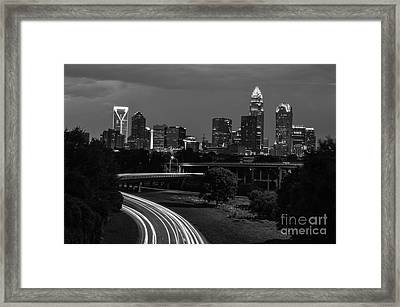 Charlotte Black And White Skyline Framed Print by Robert Loe
