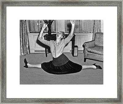 Charlotte Greenwood Does The Splits At 50 Framed Print by Underwood Archives