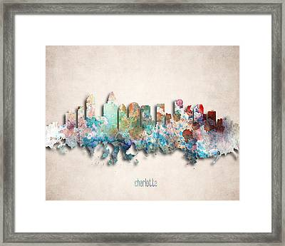 Charlotte Painted City Skyline Framed Print by World Art Prints And Designs