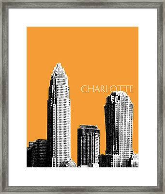Charlotte Skyline 2 - Orange Framed Print by DB Artist