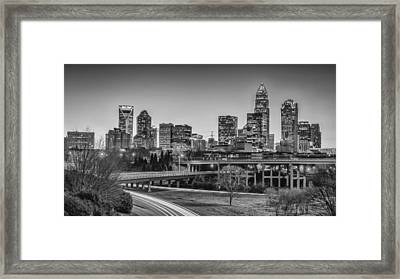 Charlotte Sunset Black And White Framed Print by Brian Young