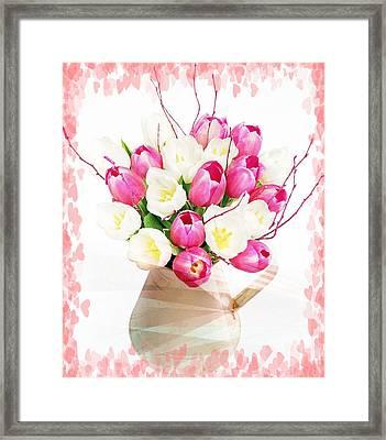 Charming Heart Tulips Framed Print by Debra  Miller