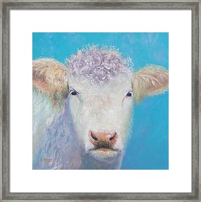Charolais Cow Painting By Jan Matson Framed Print by Jan Matson