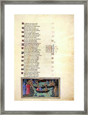 Charon Ferries Dante And Virgil Framed Print by British Library