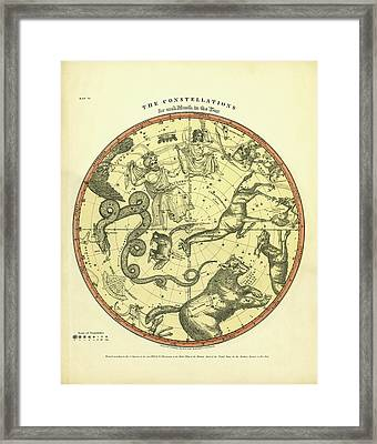 Chart Of The Constellations Framed Print by Underwood Archives