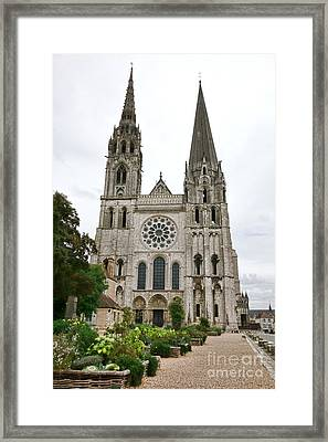 Chartres Cathedral And Esplanade Framed Print by Olivier Le Queinec