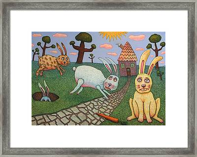 Chasing Tail Framed Print by James W Johnson