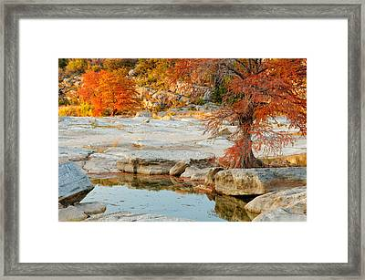 Chasing The Light At Pedernales Falls State Park Hill Country Framed Print by Silvio Ligutti