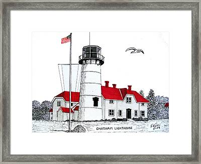 Chatham Lighthouse Drawing Framed Print by Frederic Kohli