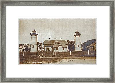 Chatham Twin Lights 1908-18 Framed Print by Skip Willits