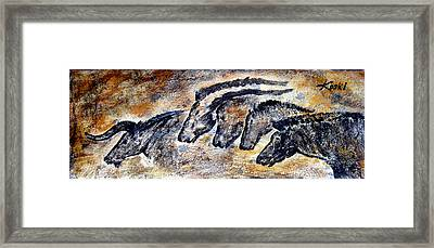 Chauvet Cave Auroch And Horses Framed Print by Beverly  Koski
