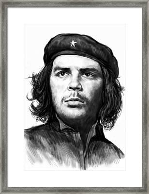 Che Quevara Art Drawing Sketch Portrait  Framed Print by Kim Wang