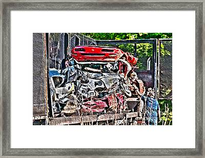 Checking The Load - Automotive Recycling Framed Print by Crystal Harman