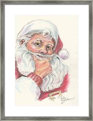 Santa Checking Twice Christmas Image Framed Print by Dale Jackson