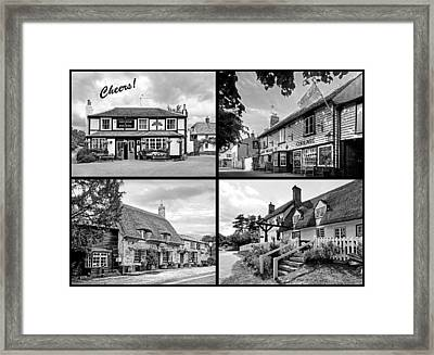 Cheers - Eat Drink And Be Merry - 4 Pubs Bw Framed Print by Gill Billington
