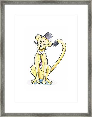 Cheetah In A Top Hat Framed Print by Christy Beckwith