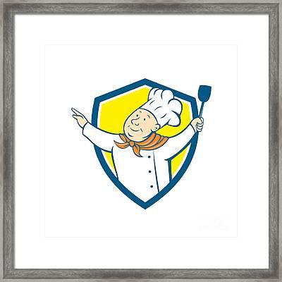 Chef Cook Arm Out Spatula Shield Cartoon Framed Print by Aloysius Patrimonio