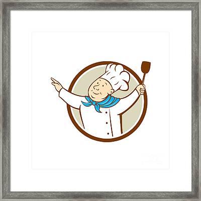 Chef Cook Arms Out Spatula Circle Cartoon  Framed Print by Aloysius Patrimonio
