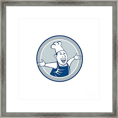 Chef Cook Happy Arms Out Circle Cartoon Framed Print by Aloysius Patrimonio