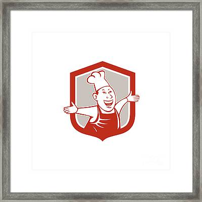 Chef Cook Happy Arms Out Shield Cartoon Framed Print by Aloysius Patrimonio