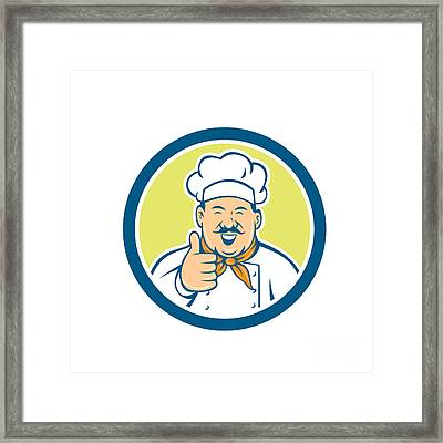 Chef Cook Happy Thumbs Up Circle Retro Framed Print by Aloysius Patrimonio