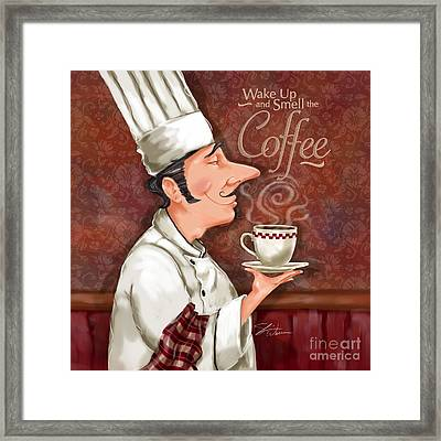 Chef Smell The Coffee Framed Print by Shari Warren